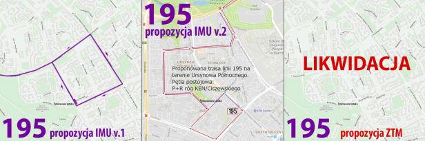 Proponowane zmiany w trasie linii 195 Inicjatywa Mieszkańców Ursynowa