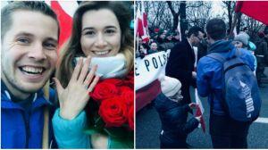 Zatrzymał marsz i ukląkł przed ukochaną. Premier i prezydent gratulowali