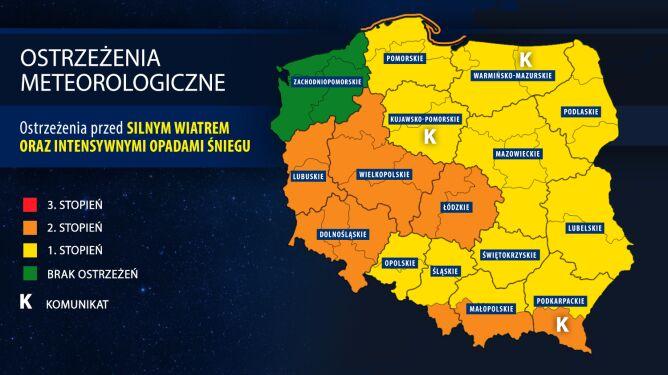 Ostrzeżenia meteorologiczne (IMGW) w czwartek wieczorem