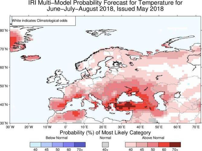 Prawdopodobieństwo odchylenia temperatury od normy (IRI)